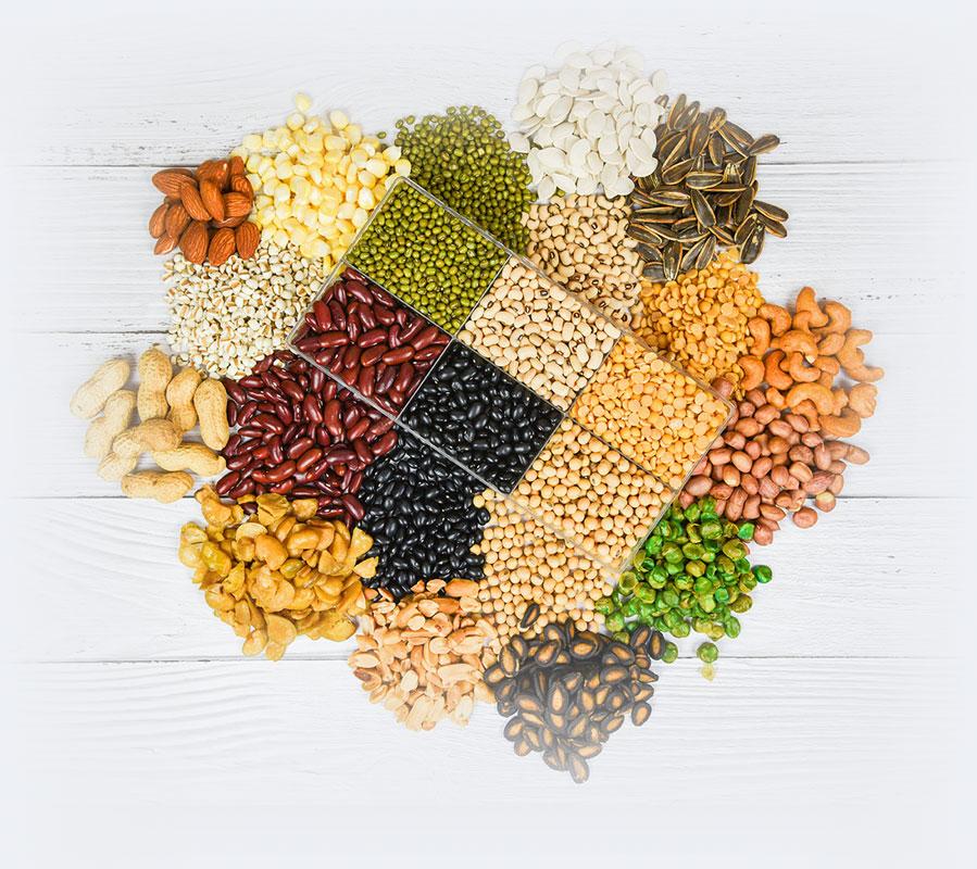 Semillas y chiles secos